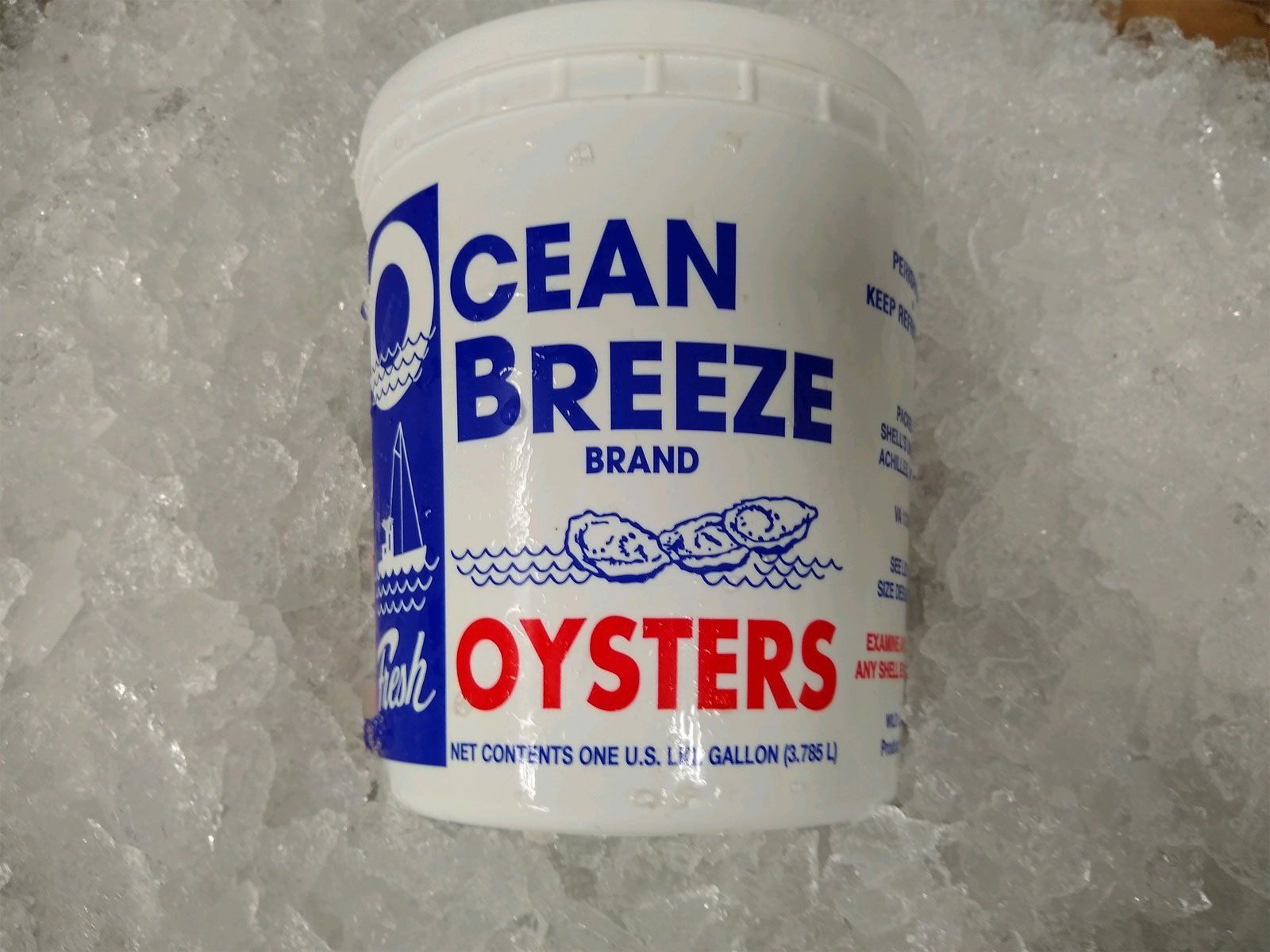 one gallon of Oysters - Mobjack Bay Seafood - Gloucester Virginia